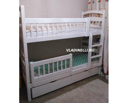 """Двухъярусная кровать из натурального дерева """"Марго"""" с ящиками"""
